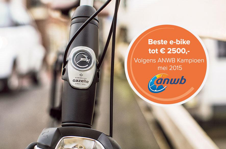 Gazelle Orange C7 HM is door ANWB Kampioen uitgeroepen tot Beste E-bike tot € 2500 in De Ultieme Elektrische Fietsen Test 2015.